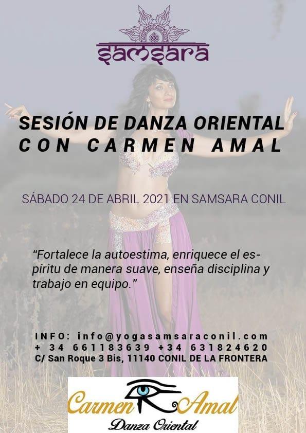Sesión de danza oriental con Carmen Amal en Samsara Conil