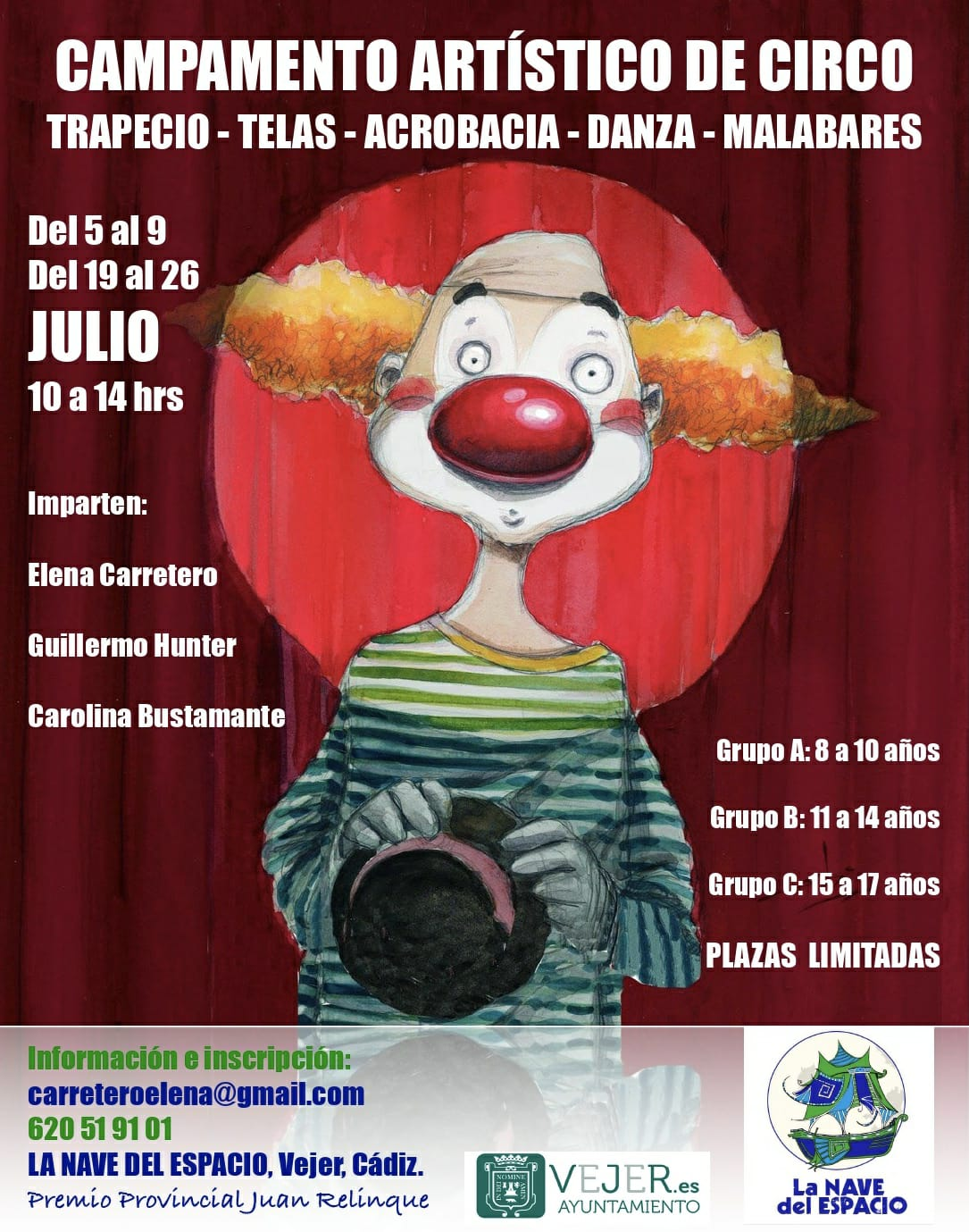 Campamento Artístico de Circo para niños en La Nave del Espacio, Vejer