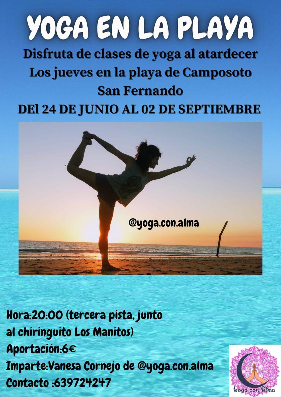 Clase de Yoga en la Playa de Camposoto, San Fernando