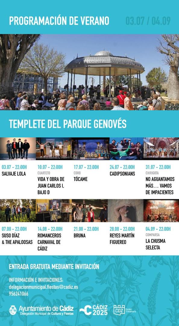 Actuaciones de Verano 2021 en el Templete del Parque Genovés, Cádiz