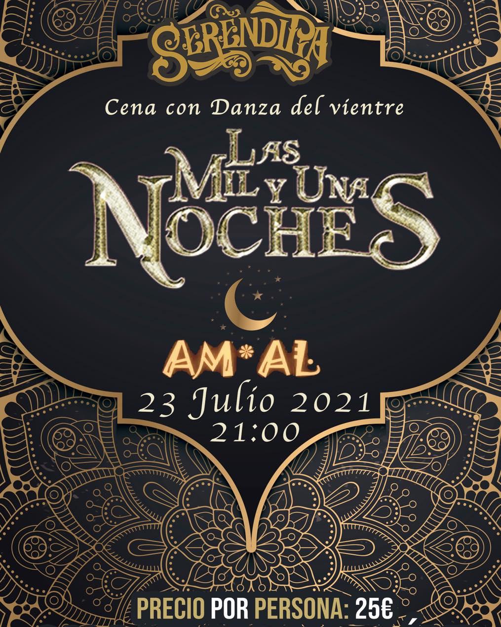 Cena con danza del vientre Am*al 'Las mil y una noches' en Sala Serendipia, Cádiz