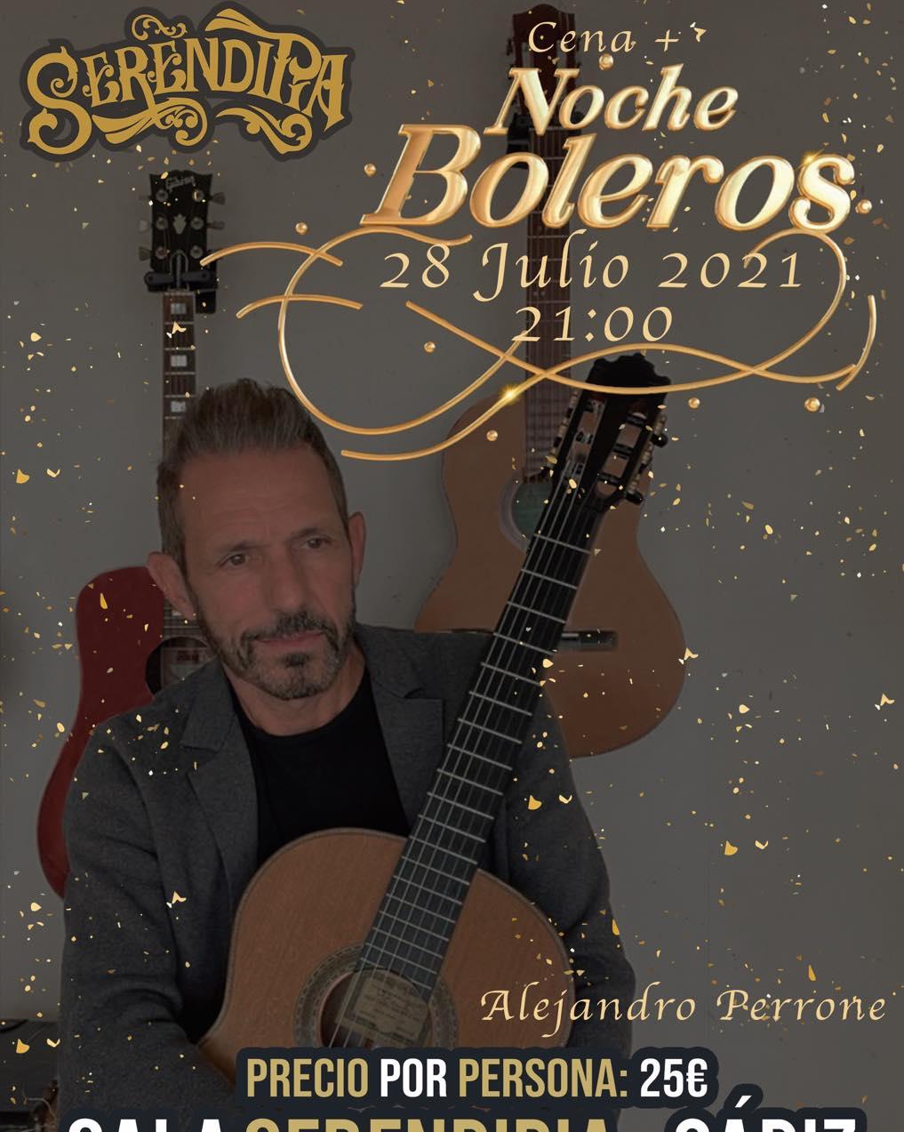 Cena y noche de Boleros con 'Alejandro Perrone' en Sala Serendipia, Cádiz