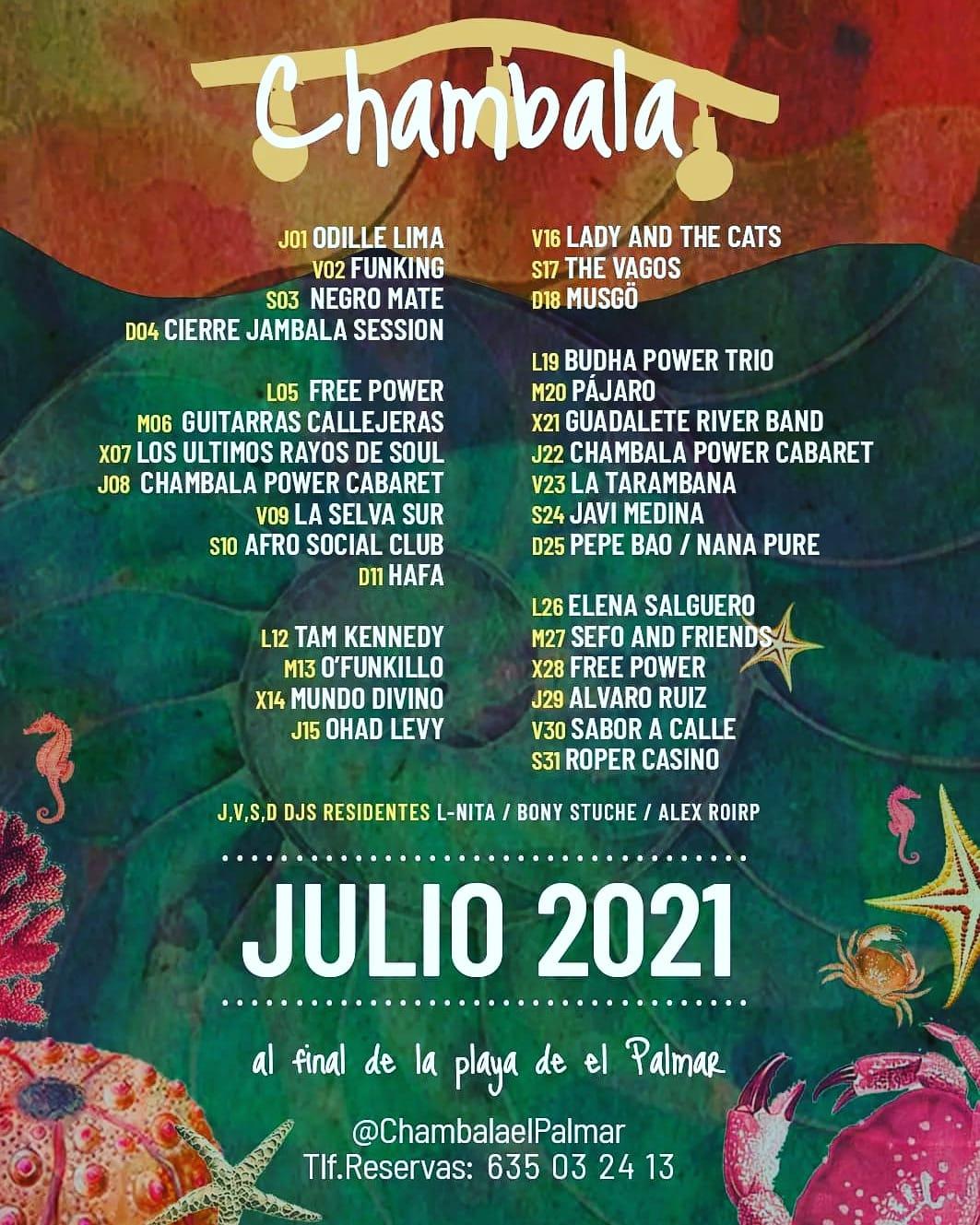 Programación actuaciones en directo - Julio 2021 en Chambala El Palmar