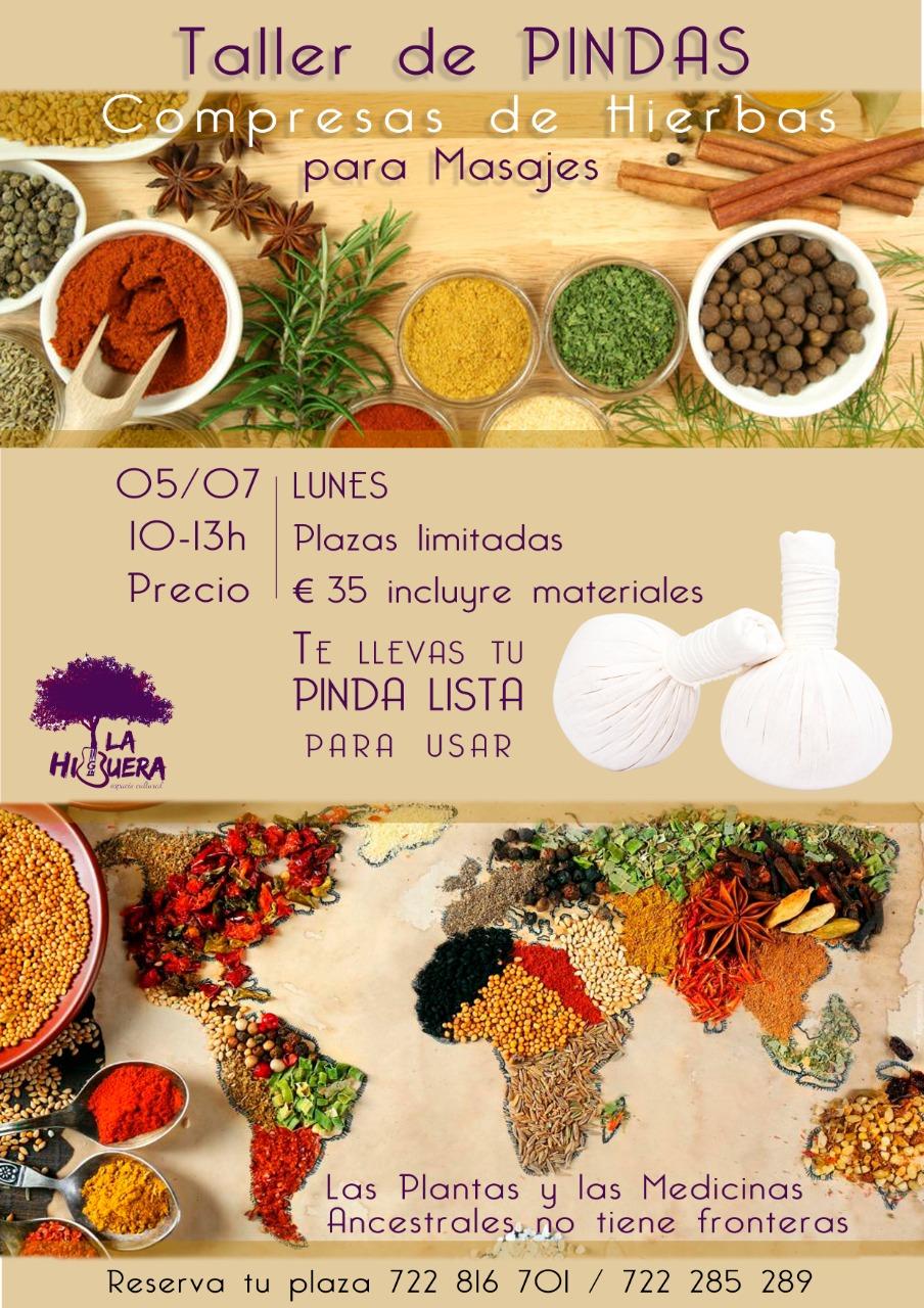 Taller de Pindas - Compresas de hierbas para masajes - en La Higuera