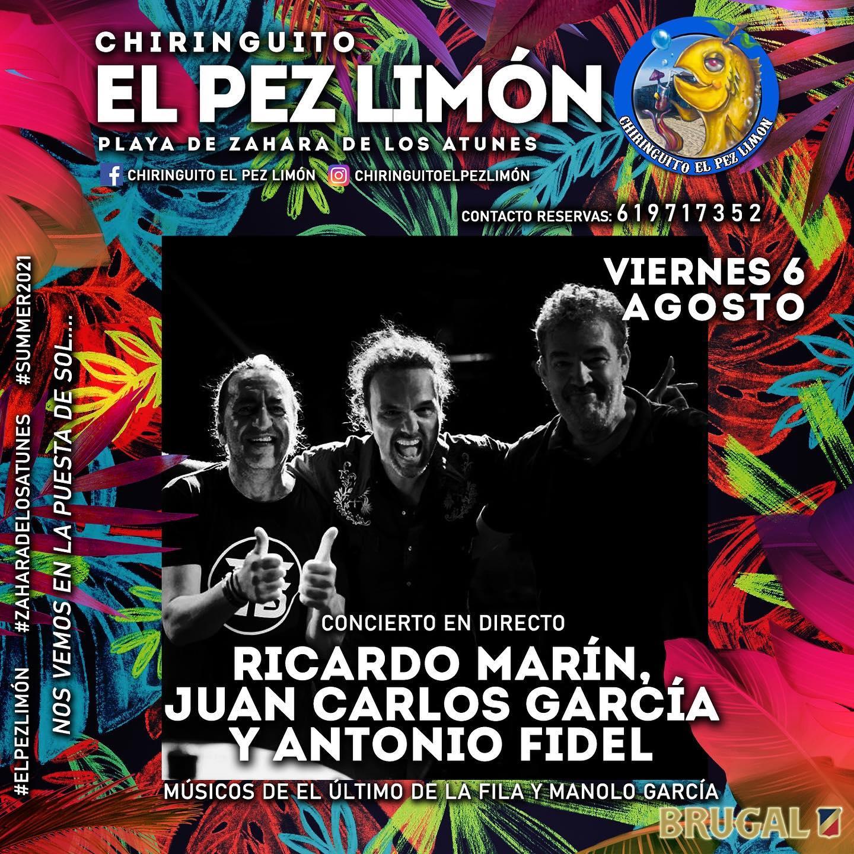 Actuación de los músicos de El Último de la Fila y Manolo García en el chiringuito El Pez Limón