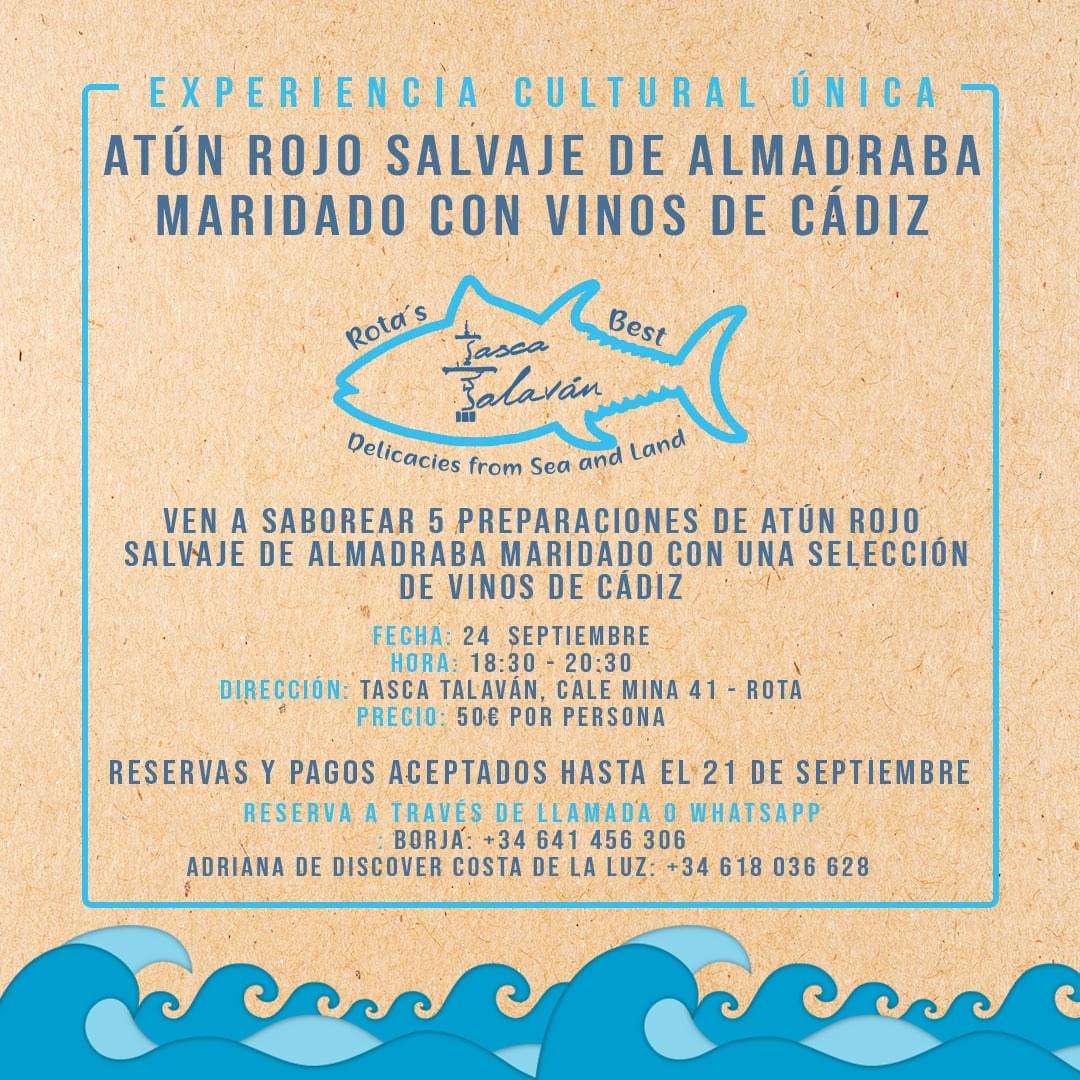 Maridaje guiado de atún rojo salvaje de almadraba y vinos de Cádiz en Tasca Talaván